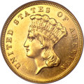 Three Dollar Gold Pieces, 1886 $3 MS60 NGC. Gold CAC....
