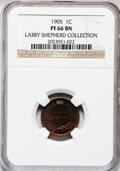 Proof Indian Cents: , 1905 1C PR66 Brown NGC. Ex: Larry Shepherd Collection. NGC Census:(8/4). PCGS Population (1/0). Mintage: 2,152. Numismedia...