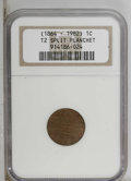 Errors: , (1864-1982) 1C Type Two Split Cent Planchet NGC....