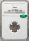 Seated Half Dimes: , 1845 H10C MS63 NGC. CAC. NGC Census: (37/77). PCGS Population(28/79). Mintage: 1,564,000. Numismedia Wsl. Price for proble...