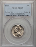 Jefferson Nickels: , 1939 5C Reverse of 1938 MS67 PCGS. PCGS Population (27/0). NGCCensus: (394/2). Mintage: 120,627,536. Numismedia Wsl. Price...