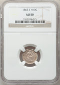 Seated Half Dimes: , 1863-S H10C AU50 NGC. NGC Census: (2/81). PCGS Population (5/49).Mintage: 100,000. Numismedia Wsl. Price for problem free ...