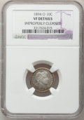 Barber Dimes: , 1894-O 10C -- Improperly Cleaned -- NGC Details. VF. NGC Census:(2/56). PCGS Population (6/98). Mintage: 720,000. Numismed...