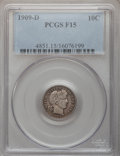 Barber Dimes: , 1909-D 10C Fine 15 PCGS. PCGS Population (4/140). NGC Census:(2/78). Mintage: 954,000. Numismedia Wsl. Price for problem f...