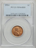 Lincoln Cents: , 1914 1C MS64 Red PCGS. PCGS Population (184/153). NGC Census:(57/54). Mintage: 75,238,432. Numismedia Wsl. Price for probl...