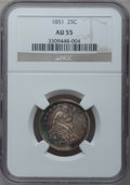 Seated Quarters: , 1851 25C AU55 NGC. NGC Census: (7/13). PCGS Population (3/22).Mintage: 160,000. Numismedia Wsl. Price for problem free NGC...