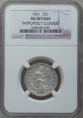 Seated Quarters: , 1861 25C -- Improperly Cleaned -- NGC Details. AU. NGC Census:(6/451). PCGS Population (27/459). Mintage: 4,854,600. Numis...