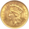 Three Dollar Gold Pieces, 1854 $3 MS65 PCGS. CAC....