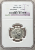 Barber Quarters: , 1900-S 25C -- Improperly Cleaned -- NGC Details. Unc. NGC Census:(0/35). PCGS Population (1/64). Mintage: 1,858,585. Numis...
