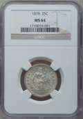 Seated Quarters: , 1878 25C MS64 NGC. NGC Census: (16/13). PCGS Population (18/15).Mintage: 2,260,800. Numismedia Wsl. Price for problem free...