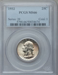 Washington Quarters: , 1932 25C MS66 PCGS. PCGS Population (149/2). NGC Census: (83/2).Mintage: 5,404,000. Numismedia Wsl. Price for problem free...