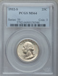 Washington Quarters: , 1932-S 25C MS64 PCGS. PCGS Population (1012/113). NGC Census:(557/69). Mintage: 408,000. Numismedia Wsl. Price for problem...