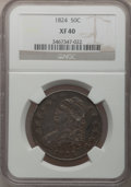 Bust Half Dollars: , 1824 50C XF40 NGC. NGC Census: (51/676). PCGS Population (73/656).Mintage: 3,504,954. Numismedia Wsl. Price for problem fr...