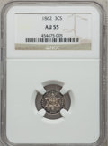 Three Cent Silver: , 1862 3CS AU55 NGC. NGC Census: (10/980). PCGS Population (42/990).Mintage: 343,000. Numismedia Wsl. Price for problem free...