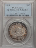 Bust Half Dollars: , 1828 50C Square Base 2, Small 8, Large Letters AU53 PCGS. PCGSPopulation (39/206). (#6151)...
