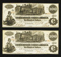 Confederate Notes:1862 Issues, CT39/290A Counterfeit $100 1862 Two Examples.. ... (Total: 2 notes)