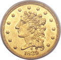 Classic Quarter Eagles, 1839/8-C $2 1/2 MS62 PCGS Secure. Breen-6149, Variety 23, R.3....
