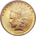 Indian Eagles, 1908 $10 Motto MS66 PCGS....