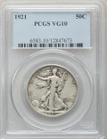 Walking Liberty Half Dollars: , 1921 50C VG10 PCGS. PCGS Population (94/600). NGC Census: (57/379).Mintage: 246,000. Numismedia Wsl. Price for problem fre...