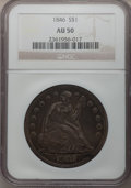 Seated Dollars: , 1846 $1 AU50 NGC. NGC Census: (30/247). PCGS Population (75/213).Mintage: 110,600. Numismedia Wsl. Price for problem free ...