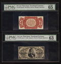 Fractional Currency:Third Issue, Fr. 1291SP 25¢ Third Issue Narrow Margin Pair PMG Gem Uncirculated 65 EPQ and PMG Choice Uncirculated 63.. ... (Total: 2 notes)