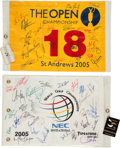 Golf Collectibles:Autographs, 2005 World Golf Championships and The Open Championship MultiSigned Flags Lot of 2....