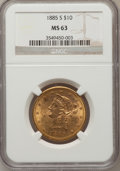 Liberty Eagles: , 1885-S $10 MS63 NGC. NGC Census: (71/2). PCGS Population (84/2).Mintage: 228,000. Numismedia Wsl. Price for problem free N...