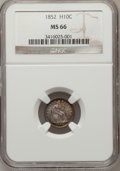 Seated Half Dimes, 1852 H10C MS66 NGC....