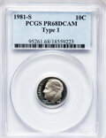 Proof Roosevelt Dimes: , 1981-S 10C Type One PR68 Deep Cameo PCGS. PCGS Population(138/6155). Numismedia Wsl. Price for problem...