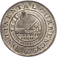 1776 $1 Continental Dollar, CURRENCY, Pewter, EG FECIT MS64 PCGS Secure. Newman 3-D, Hodder 3-B, W-8460, Low R.4. ...(PC...