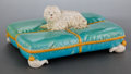 Ceramics & Porcelain, A GEORGE JONES & SONS PILLOW-FORM MAJOLICA INKWELL WITH SHAGGY DOG . 1871. Marks: (registry mark for January, 1871, day and ...