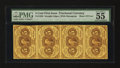 Fractional Currency:First Issue, Fr. 1230 5¢ First Issue Vertical Strip of Four PMG AboutUncirculated 55 EPQ.. ...