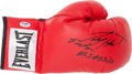Boxing Collectibles:Autographs, Larry Holmes Signed Boxing Glove....