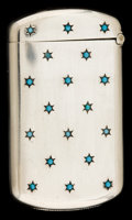 Silver Smalls:Match Safes, AN AMERICAN SILVER AND TURQUOISE MATCH SAFE . Attributed to Wm. B.Kerr & Co., Newark, New Jersey, circa 1900. Marks:STER...
