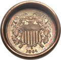 Errors, 1864 2C Large Motto Two Cent Piece -- Obverse Die Cap -- MS62 Brown NGC;... (Total: 2 coins)