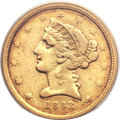 Liberty Half Eagles, 1842-C $5 Small Date VF30 PCGS. CAC. Variety 1....