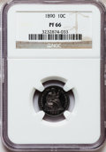 Proof Seated Dimes: , 1890 10C PR66 NGC. NGC Census: (22/11). PCGS Population (16/5).Mintage: 590. Numismedia Wsl. Price for problem free NGC/PC...