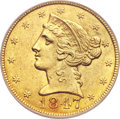 Liberty Half Eagles, 1847-C $5 MS60 PCGS. Variety 1....