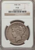 Peace Dollars: , 1928 $1 Fine 12 NGC. NGC Census: (7/5164). PCGS Population(3/7525). Mintage: 360,649. Numismedia Wsl. Price for problem fr...