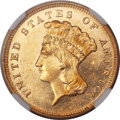Three Dollar Gold Pieces, 1880 $3 MS64 Prooflike NGC....