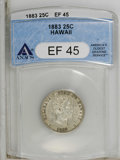 Coins of Hawaii: , 1883 25C Hawaii Quarter XF45 ANACS. NGC Census: (11/609). PCGSPopulation (25/1007). Mintage: 500,000. (#10987)...