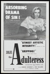 """The Adulteress (Times, 1958). One Sheet (27"""" X 41""""). Film Noir. Starring Simone Signoret, Raf Vallone, Jacques..."""