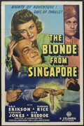 "Movie Posters:Adventure, The Blonde from Singapore (Columbia, 1941). One Sheet (27"" X 41"").Adventure. Starring Leif Erickson, Florence Rice, Gordon ..."