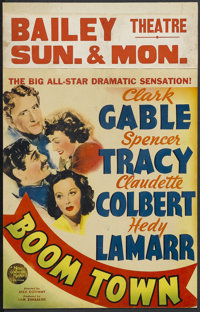 """Boom Town (MGM, 1940). Window Card (14"""" X 22""""). Drama. Starring Clark Gable, Spencer Tracy, Claudette Colbert..."""