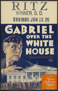 "Movie Posters:Fantasy, Gabriel Over the White House (MGM, 1933). Window Card (14"" X 22""). Walter Huston stars in this very unusual film about a Pre..."