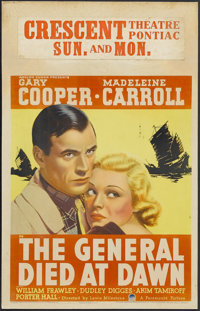 "The General Died at Dawn (Paramount, 1936). Window Card (14"" X 22""). Adapted from Charles G. Booth's best-sell..."
