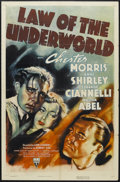 "Movie Posters:Crime, Law of the Underworld (RKO, 1938). One Sheet (27"" X 41""). Crime.Starring Chester Morris, Anne Shirley, Eduardo Ciannelli, W..."