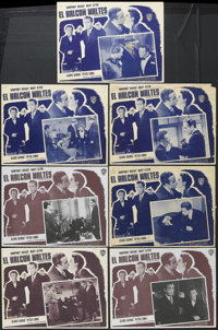 "The Maltese Falcon (Warner Brothers, R-1950s). Mexican Lobby Card Set of 8 (12.5"" X 16.5""). Film Noir. Starrin..."
