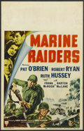 "Movie Posters:War, Marine Raiders (RKO, 1944). Window Card (14"" X 22""). War. StarringPat O'Brien, Robert Ryan, Ruth Hussey, Frank McHugh and B..."