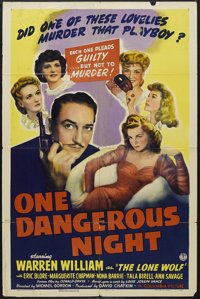 "One Dangerous Night (Columbia, 1943). One Sheet (27"" X 41""). Crime. Starring Warren William as ""The Lone..."